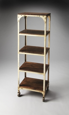 White Polished Striking Blaine Industrial Chic Etagere by Butler Specialty