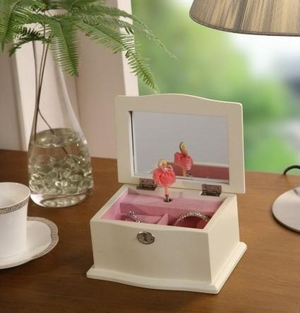 White Shabby Jewelry Box with an Open and Shut Lid and Music Brand Nathan