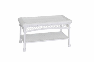 White Wicker Patio Furniture Coffee Table with Steel Frame Brand Zest