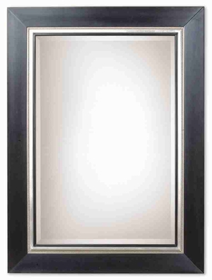 Whitmore Mirror with Solid Wood Black and Silver Leaf Frame Brand Uttermost