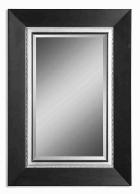 Whitmore Vanity Wall Mirror with All Wood Silver Leaf Glaze Brand Uttermost