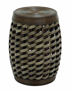 Wicker Woven Polyethylene Stool In Unique Barrel Shape Brand Woodland