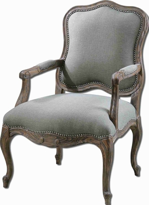 Willa Steel Gray Armchair In Pine and Mahogany Frame Brand Uttermost
