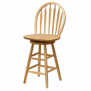 "Winsome Wood Windsor 24"" Swivel Stool with Rimmed Back"