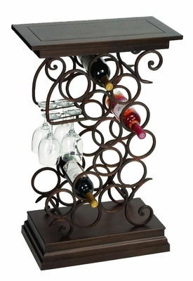 Wine Bar Table Rack with Glass and Bottle Holder in Swirl design Brand Woodland