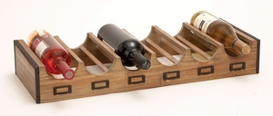Wine Bottle Tray - Wood Wine Bottle Tray With Label Fasteners Brand Woodland