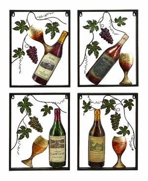 Wine Pleasures Classic Metal Wall Art Decor Sculpture - Set of 4 Brand Woodland