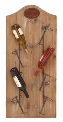 Wine Rack Wall Decor - Angled Wine Rack With 8 Iron Supports Brand Woodland