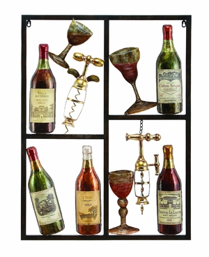 Wine Time Wine Metal Wall Art Decor Sculpture Brand Woodland