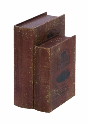 Wine Vineyard Book Box Set In Antique Wood Brand Woodland