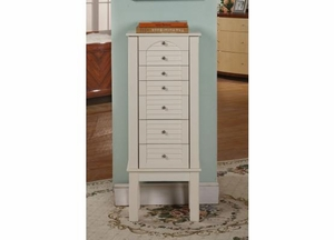 Winnipeg White 6 Drawer Jewelry Armoire with Handle Design Brand Nathan
