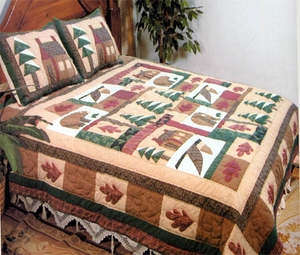 Winter Cabin Quilt, Queen Size 90 Inch x 90 Inch, Handmade Quilts by American Hometex