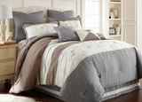 Winter Frost Queen Eight Piece Embroidered Comforter Sets