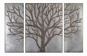 Winter Mirror Tree Wall Art With Rustic Brown Gold Highlights Brand Uttermost