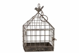 Wire Mesh Metal Bird Cage w/ Metal Bird Figurine on Top w/ Chain Attached in Gray