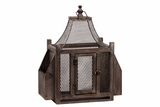 Wire Mesh Wooden Lantern w/ Side Shelves