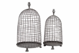 Wire Meshed Metal Planter Set of Two w/ Three Small Stands
