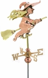 Witch Garden Weathervane - Polished Copper w/Garden Pole by Good Directions