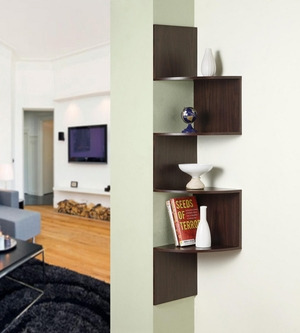 Wonderful Corner Chocolate Colored Storage Shelf by 4D Concepts