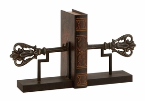 Wonderful Customary Styled Metal Iron Bookend Pair by Woodland Import