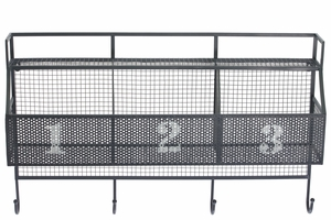 Wonderful Metal Wall Shelf with 3 Numbered Shelves and 4 Hooks