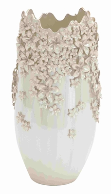 Wonderful Semi Oval Shaped Floral Design Vase Brand Benzara