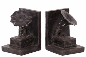 Wonderful Set of Resin Gramophone Bookend by Urban Trends Collection