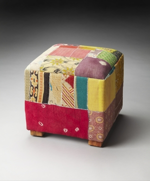 Wonderful Styled Calico Patchwork Pouffe by Butler Specialty