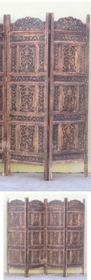 CARVED SCREEN CHINAR PATTI , WOOD - Room Divider
