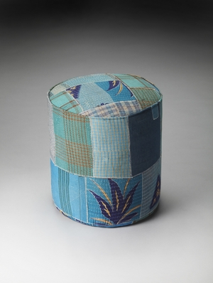 Wonderful Styled Indigo Patchwork Pouffe by Butler Specialty