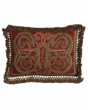 Wonderful Styled Scroll-Green Needlepoint Pillow by 123 Creations
