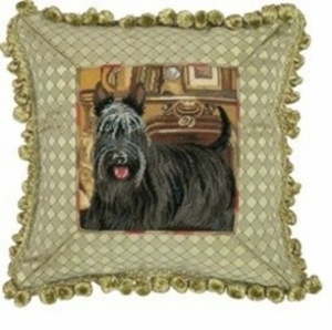 Wonderful Unique Styled Scottie Petit Point Pillow by 123 Creations