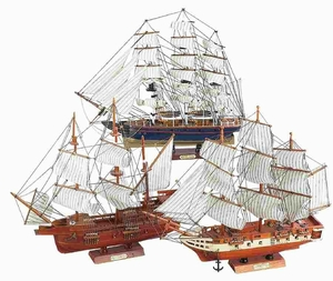 "Wood 20"" Ship Designed with Intricate Detailing - Set of 3 Brand Woodland"