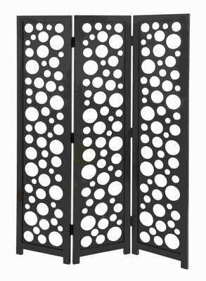 Wood 3 Panel Screen in Random Circular and Oval Patterns Brand Woodland