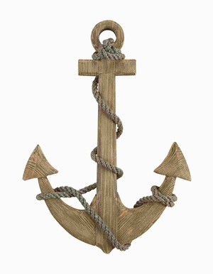 Wood Anchor Crafted with Intricate Detailings in Natural Finish Brand Woodland
