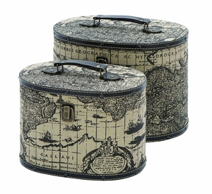 Wood Ancient World Map Oval Travel Box Set With Leather Trim Brand Woodland
