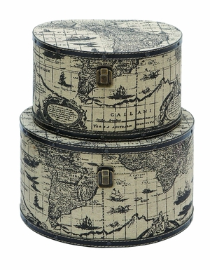 Wood Ancient World Map Round Travel Box Set With Leather Trim Brand Woodland