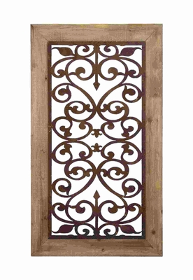Wood And Gate Style Garden Wall Plaque With Scrolling Ironwork Brand Woodland
