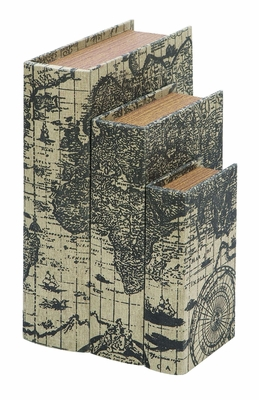 Wood And Leather Book Boxes Set With Ancient World Map Brand Woodland
