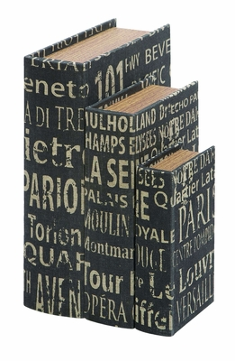 Wood And Leather Book Boxes Set With European Landmarks Brand Woodland
