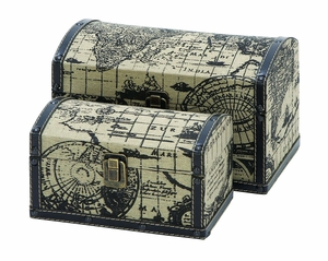 Wood And Leather Mini Travel Chests With Ancient World Map Brand Woodland