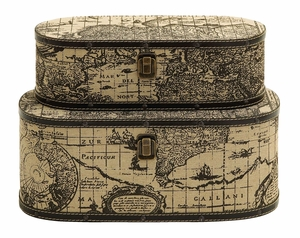 Wood And Leather Oval Travel Boxes With Ancient World Map Brand Woodland