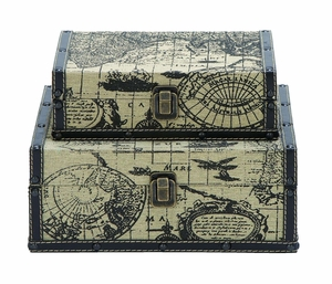 Wood And Leather Square Travel Boxes With Ancient World Map Brand Woodland