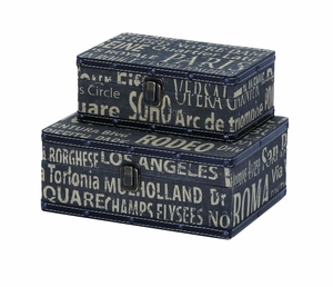 Wood And Leather Square Travel Boxes With European Landmarks Brand Woodland