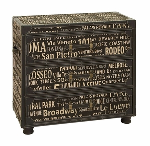 Wood And Vinyl Vanity Chest of Drawers With European Landmarks Brand Woodland