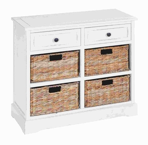 Wood Basket Cabinet with Fine Detailing in Exclusive White Color Brand Woodland