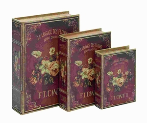 Wood Book Box in Flaunts Delicate Floral Patterns (Set of 3) Brand Woodland