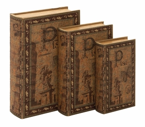 Wood Book Boxes - Matching Pisa Faux Book Boxes - Set of 3 Brand Woodland