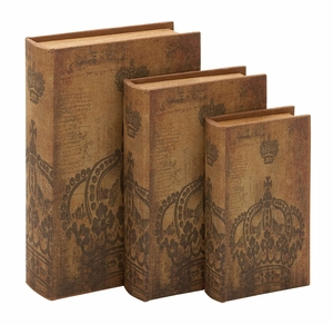 Wood Book Boxes - Matching Regal Faux Book Boxes - Set of 3 Brand Woodland