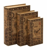 Wood Book Boxes - Matching Rome Faux Book Boxes - Set of 3 Brand Woodland